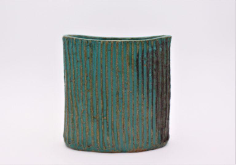 vase-pot-grés-vert-ceramique